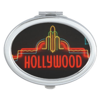 Hollywood neon sign, Los Angeles, California Compact Mirror