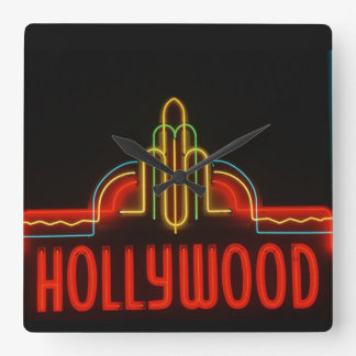 Hollywood neon sign, Los Angeles, California Square Wall Clock