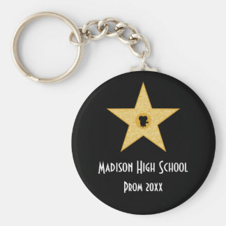 Hollywood Nights Gold Star Prom Formal Favor Key Ring