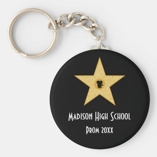 Hollywood Nights Gold Star Prom Formal Favor Key Chains