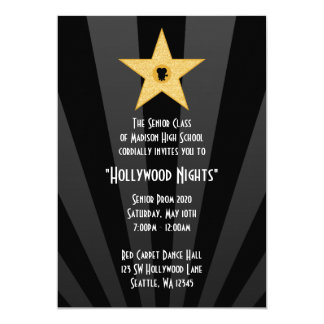 Hollywood Nights Gold Star Prom Formal Invitation