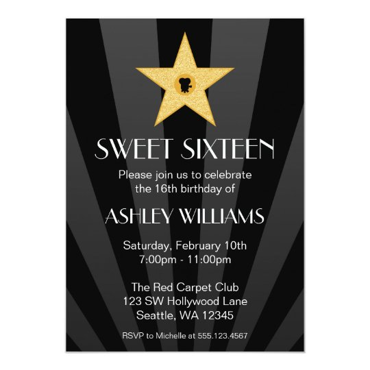 Hollywood Nights Gold Star Sweet 16 Birthday Card