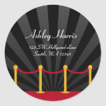 Hollywood Red Carpet Custom Address Label Round Stickers