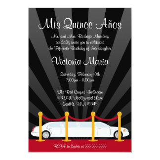 Hollywood Red Carpet Limo Quinceanera Party 13 Cm X 18 Cm Invitation Card