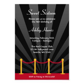 Hollywood Red Carpet Sweet 16 Birthday Party 13 Cm X 18 Cm Invitation Card