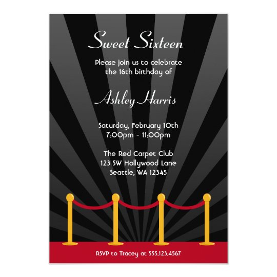 Hollywood Red Carpet Sweet 16 Birthday Party Card