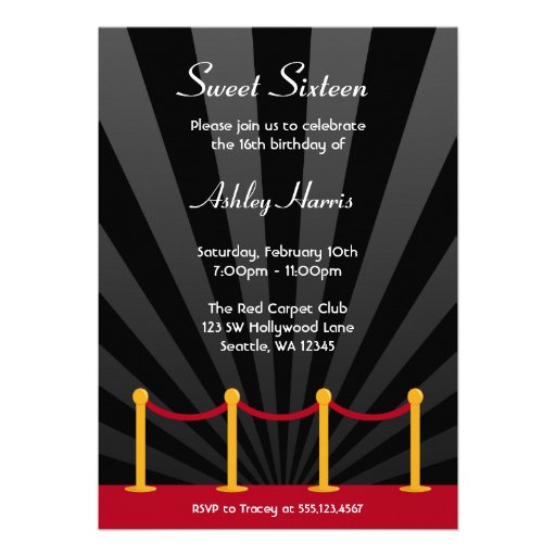 Hollywood Red Carpet Sweet 16 Birthday Party Personalised Invitations