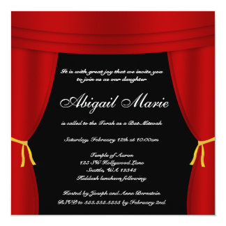 Hollywood Red Curtain Bat Mitzvah 13 Cm X 13 Cm Square Invitation Card