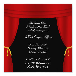 Hollywood Red Curtain Prom Formal Square Card