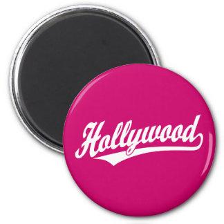Hollywood script logo in blue in white 6 cm round magnet