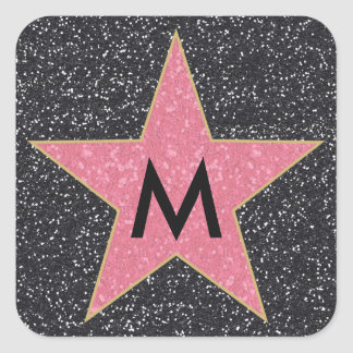 Hollywood Square Printed Glitter Initial Stickers