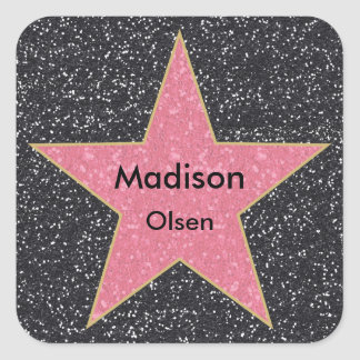 Hollywood Square Printed Glitter Name Stickers