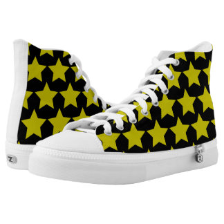 Hollywood star high tops (Black & Yellow) Printed Shoes