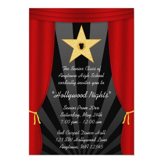 Hollywood Star Red Curtain Prom Formal Invitation
