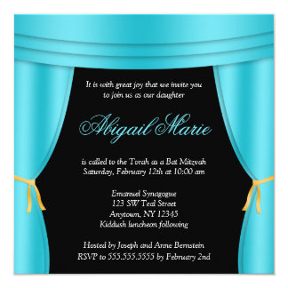 Hollywood Teal Blue Curtain Bat Mitzvah Square 5.25x5.25 Square Paper Invitation Card