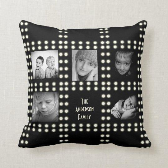 Hollywood Theme Custom Photo Family Name Cushion