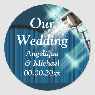 Hollywood wedding announcement couple blue classic round sticker