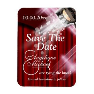 "Hollywood wedding ""save the date"" CUSTOM red Rectangular Photo Magnet"