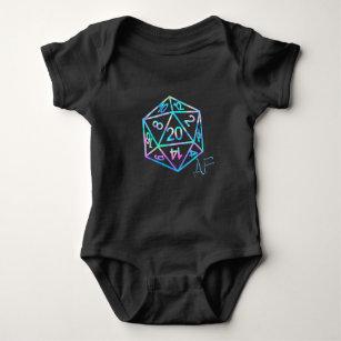 Hologram D20 Crit AF   PnP Tabletop Gamer Dice Baby Bodysuit