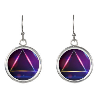 Hologram Triangle Design Earrings Purple Shades