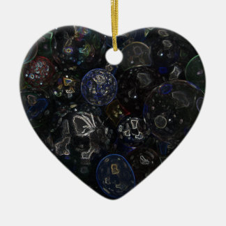 Holographic Marbles Ceramic Heart Decoration