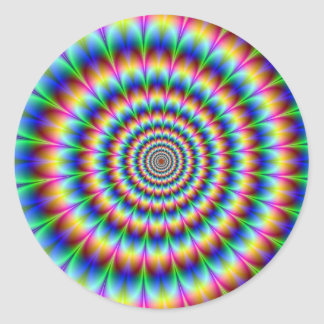 Holographic Optical Illusion Spiral Disco Rainbow Classic Round Sticker