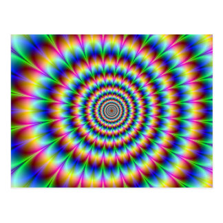 Holographic Optical Illusion Spiral Disco Rainbow Postcard