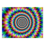 Holographic Optical Illusion Spiral Rainbow Poster