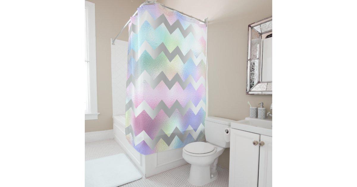 Holographic Unicorn Rainbow Grey Chevron Stripes Shower Curtain