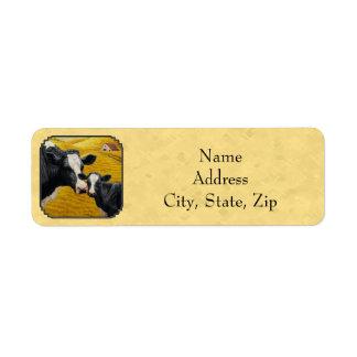 Holstein Cow and Calf Farm Yellow Return Address Label