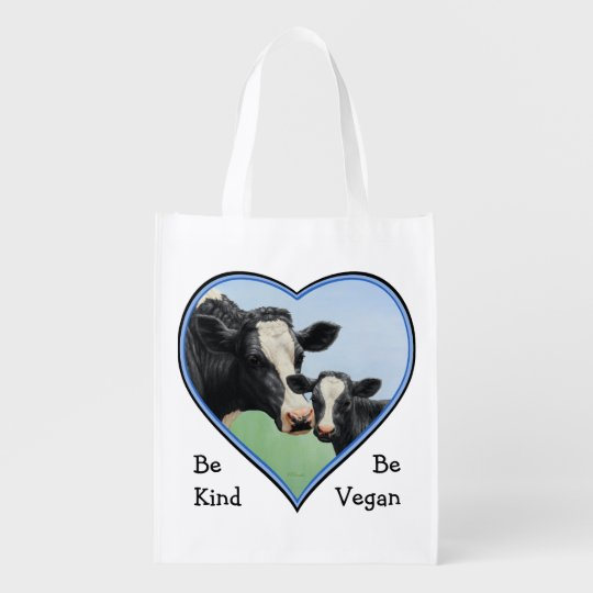 Holstein Cow & Calf Blue Heart Vegan Reusable