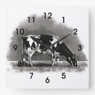 Holstein Cow Grazing: Original Pencil Art Square Wall Clock