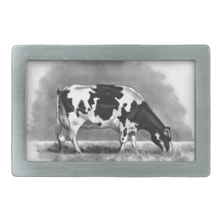 Holstein Cow Grazing: Realism Pencil Drawing Belt Buckles