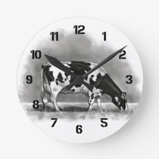 Holstein Cow Grazing: Realism Pencil Drawing Round Clock