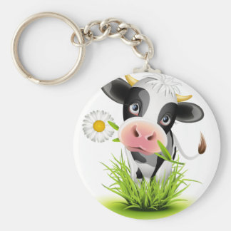 Holstein cow in grass basic round button key ring