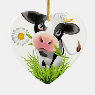Holstein cow in grass christmas ornament