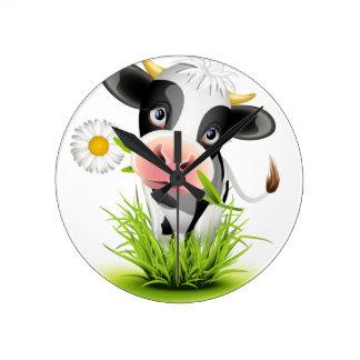 Holstein cow in grass round clock