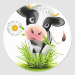Holstein cow in grass round sticker