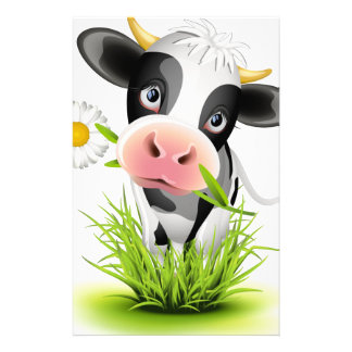 Holstein cow in grass stationery