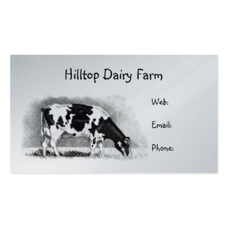 Holstein Cow in Pencil: Dairy, Milk, Farm Double-Sided Standard Business Cards (Pack Of 100)