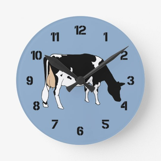 Holstein Cow: Original Drawing: Farm, Dairy Round Clock