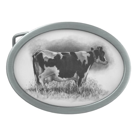 Holstein Cow: Pencil Drawing: Realism: Dairy, Farm Oval