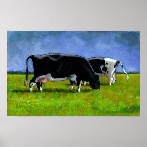 Holstein Cows: Pastel Painting: Original Art: Farm Poster