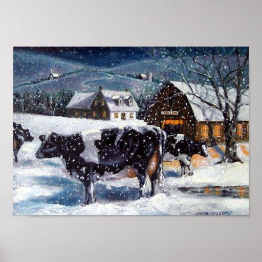 Holstein Cows: Winter Farm Scene: Fine Art Posters