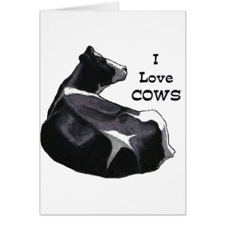 Holstein Dairy Cow: I Love Cows: Original Art Card
