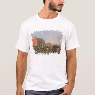 Holstein dairy cows outside a barn at sunrise T-Shirt