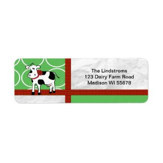 Holstein Holiday  Christmas Cow Cartoon Return Address Label