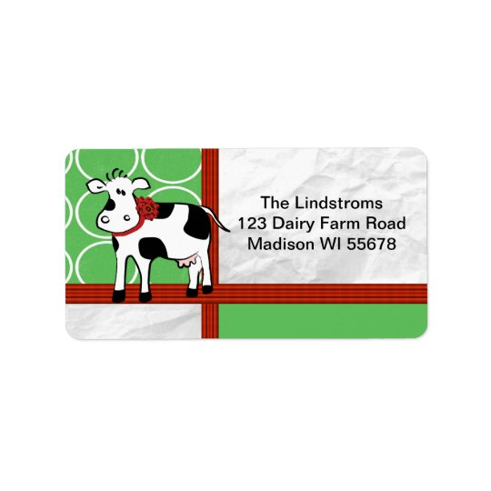 Holstein Holiday Cute Christmas Cow Cartoon Custom Address Label