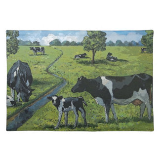 Holsteing Dairy Cows, Calves in Pasture: Art Placemat