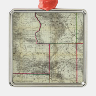 Holt's New Map, Wyoming Silver-Colored Square Decoration